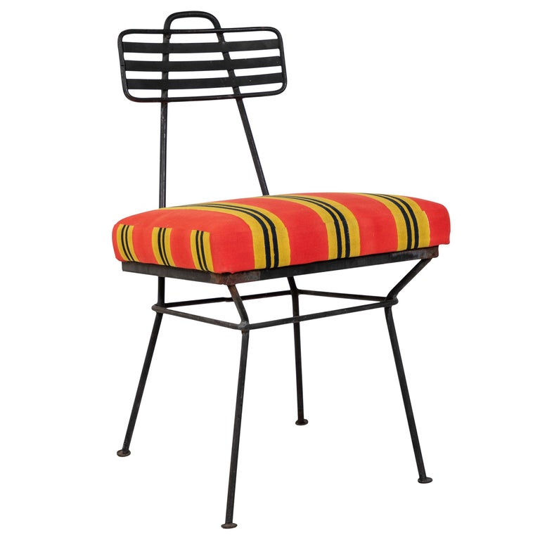 French Black Metal Chair with Striped Fabric