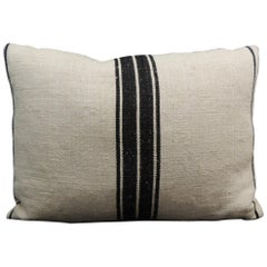 French Black and Natural Woven Stripes Decorative Pillow