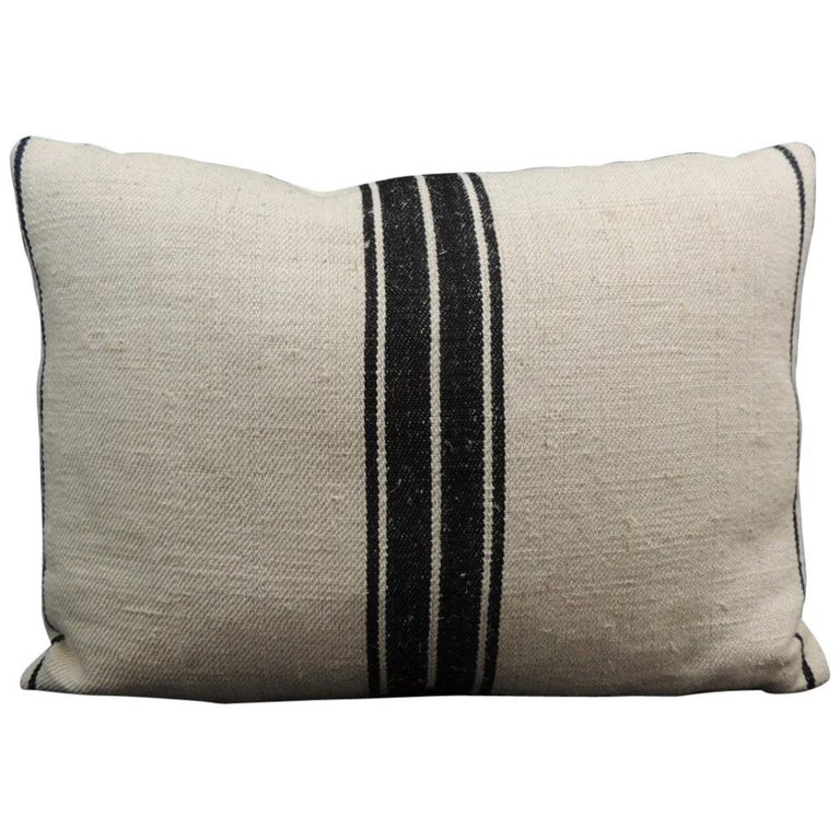 French Black and Natural Woven Stripes Decorative Pillow For Sale