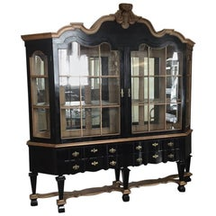 French Black Painted Double Body Mirrored Cupboard from Early 20th Century