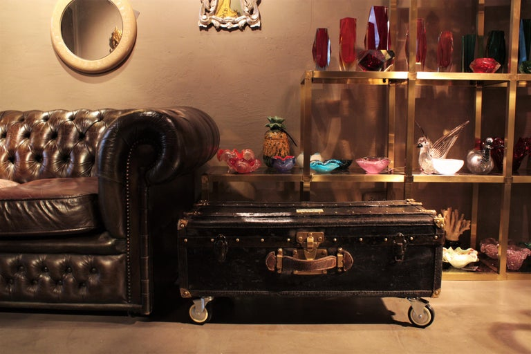 French Black Travel Trunk As Side Or Coffee Table For Sale At 1stdibs