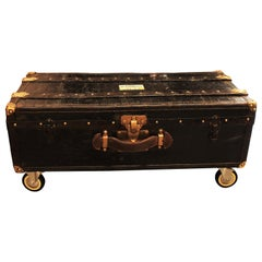 French Black Travel Trunk as Side or Coffee Table