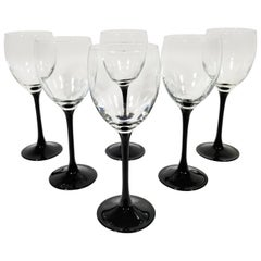 French Black Tulip Base Stemware / Wine Glasses, Made in France Set of 6