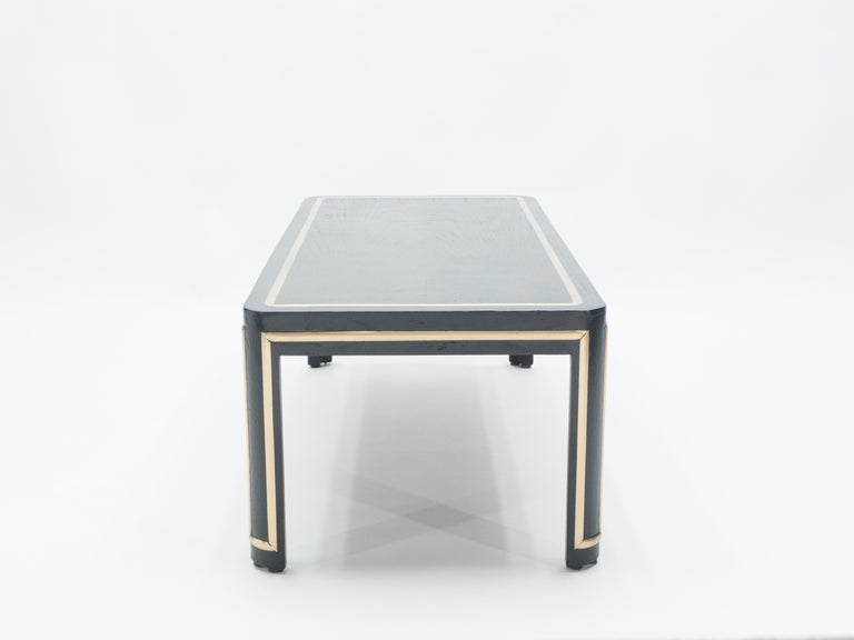 French Black Wood and Brass Art Deco Coffee Table 1940s For Sale 6