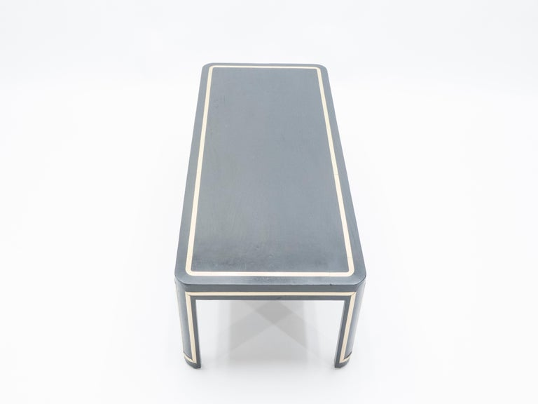 French Black Wood and Brass Art Deco Coffee Table 1940s For Sale 7