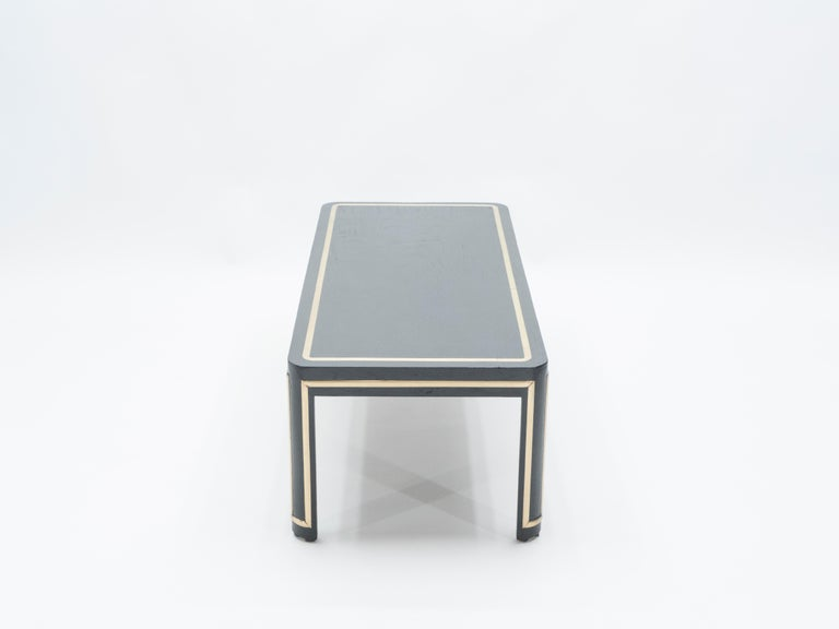 French Black Wood and Brass Art Deco Coffee Table 1940s In Good Condition For Sale In Paris, FR