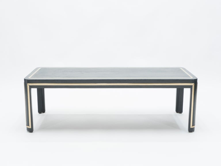 Mid-20th Century French Black Wood and Brass Art Deco Coffee Table 1940s For Sale