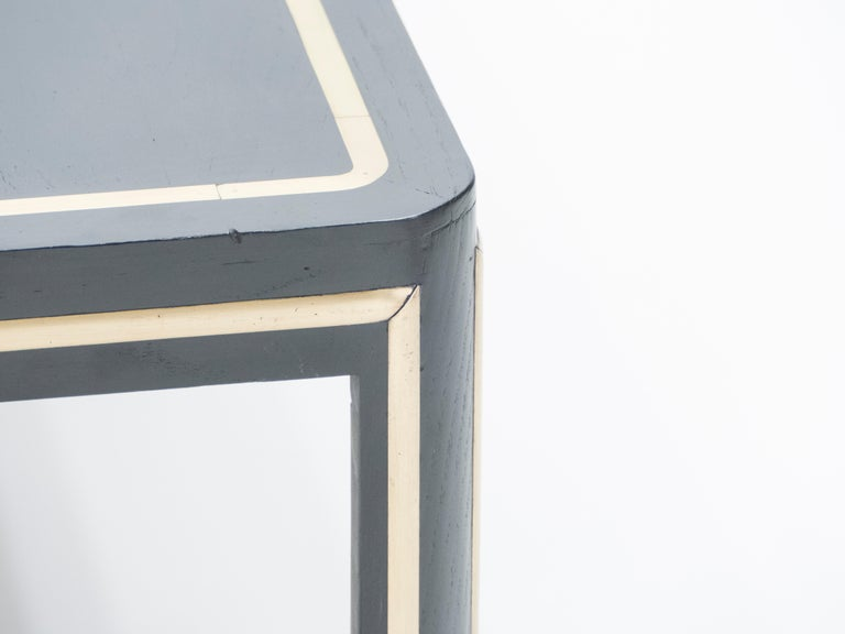 French Black Wood and Brass Art Deco Coffee Table 1940s For Sale 4