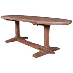 French Bleached Elm Trestle Table