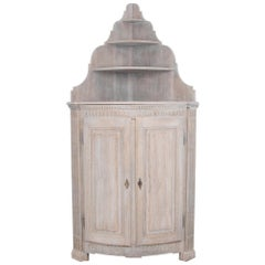 French Bleached Oak Corner Cabinet
