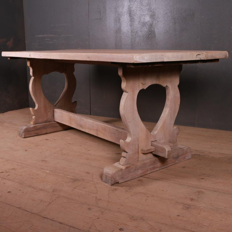 Good 19th C French bleached oak trestle table, 1890  Dimensions 72 inches (183 cms) wide 30 inches (76 cms) deep 29 inches (74 cms) high.