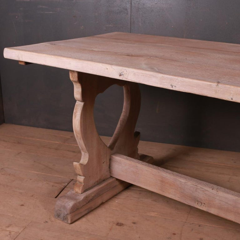 French Bleached Oak Trestle Table For Sale 1