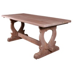 French Bleached Oak Trestle Table