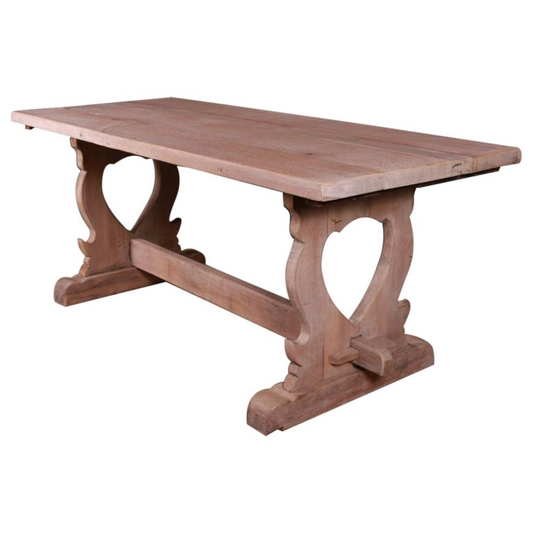 French Bleached Oak Trestle Table For Sale