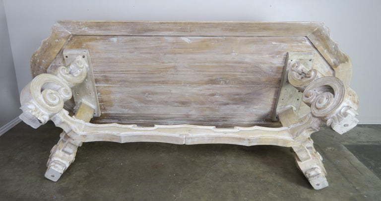French Bleached Walnut Dining Table with Scrolled Legs and Center Stretcher 7