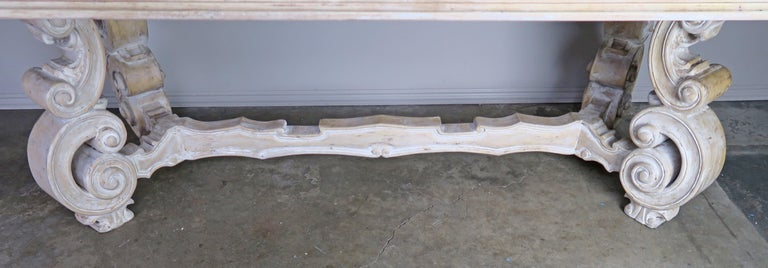 Rococo French Bleached Walnut Dining Table with Scrolled Legs and Center Stretcher