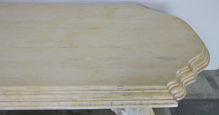 20th Century French Bleached Walnut Dining Table with Scrolled Legs and Center Stretcher
