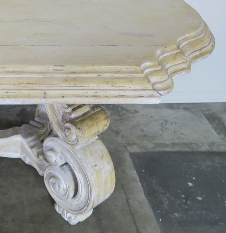 French Bleached Walnut Dining Table with Scrolled Legs and Center Stretcher 1