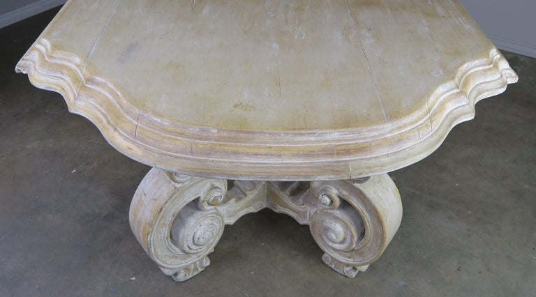 French Bleached Walnut Dining Table with Scrolled Legs and Center Stretcher 2