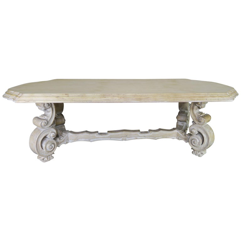 French Bleached Walnut Dining Table with Scrolled Legs and Center Stretcher