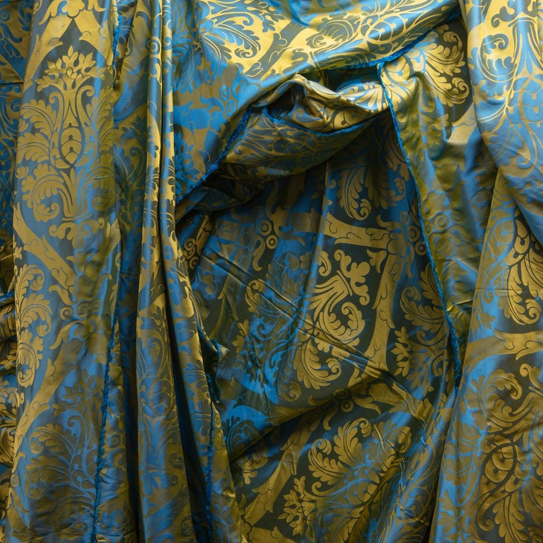 Indian French Blue and Gold Silk Woven Scalamandre Style Designer Damask Fabric For Sale