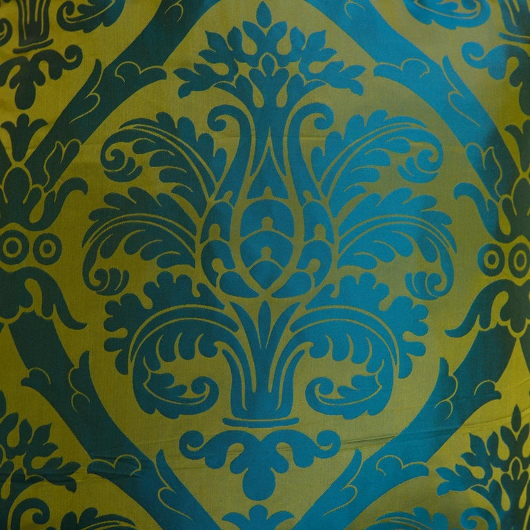 French Blue and Gold Silk Woven Scalamandre Style Designer Damask Fabric In Excellent Condition For Sale In Asheville, NC