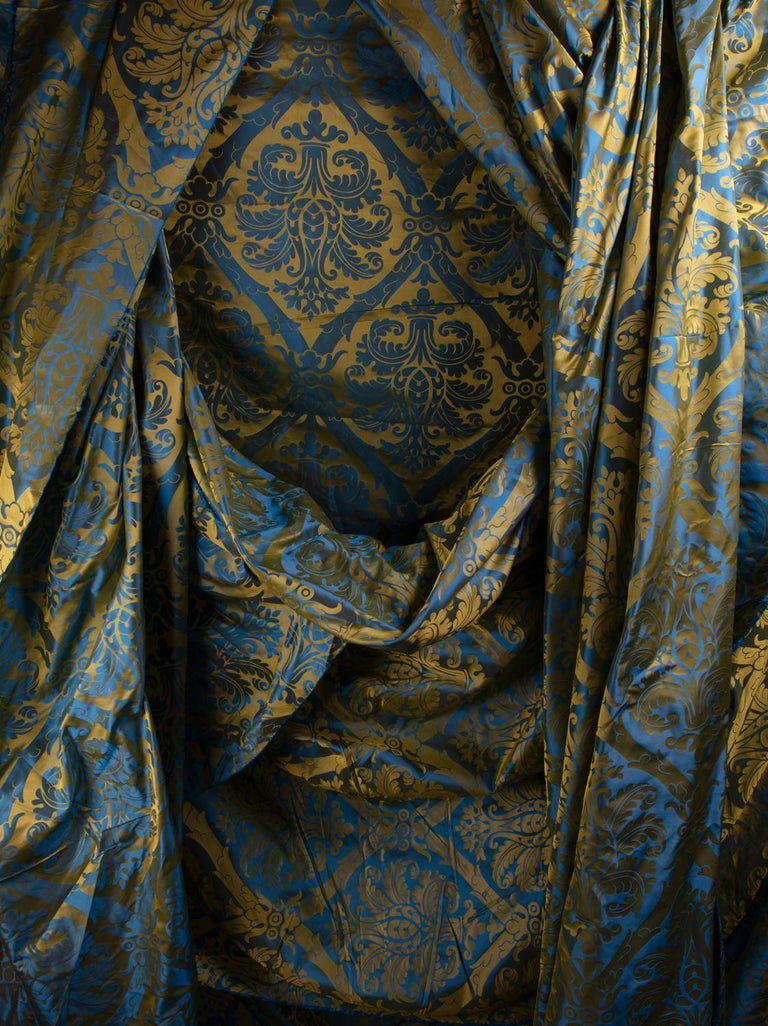 Late 20th Century French Blue and Gold Silk Woven Scalamandre Style Designer Damask Fabric For Sale