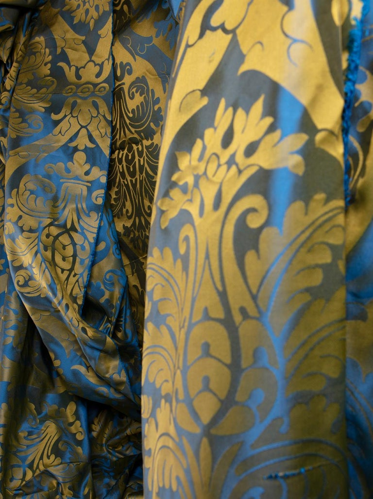 French Blue and Gold Silk Woven Scalamandre Style Designer Damask Fabric For Sale 2