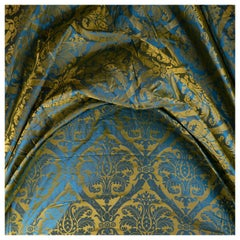 French Blue and Gold Silk Woven Scalamandre Style Designer Damask Fabric