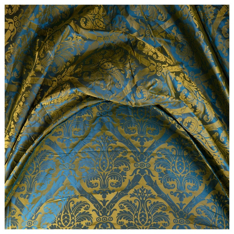 French Blue and Gold Silk Woven Scalamandre Style Designer Damask Fabric For Sale