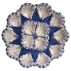 French Blue and White Faience Oyster Platter Moustiers Style, circa 1940
