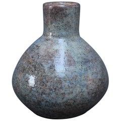 French Blue Ceramic Flower Vase by Jean-Pierre Gasnier, circa 1970s