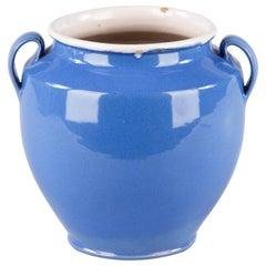 French Blue Ceramic Jar, 1930s