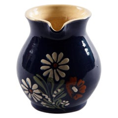 French Blue Ceramic Pitcher with Flowers, 1930s