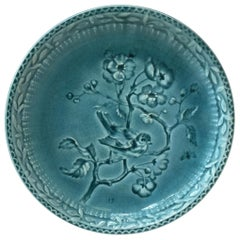 French Blue Majolica Bird and Wild Rose Plate Choisy Le Roi, circa 1890