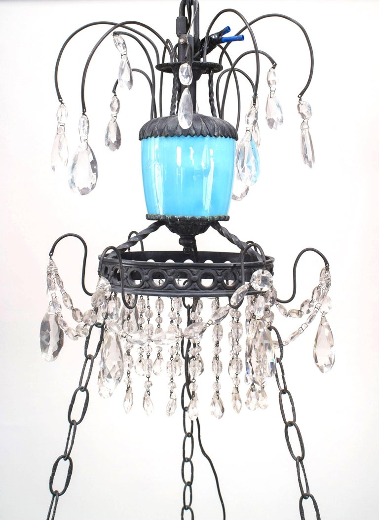 19th Century French Blue Opaline Glass and Crystal Chandelier For Sale