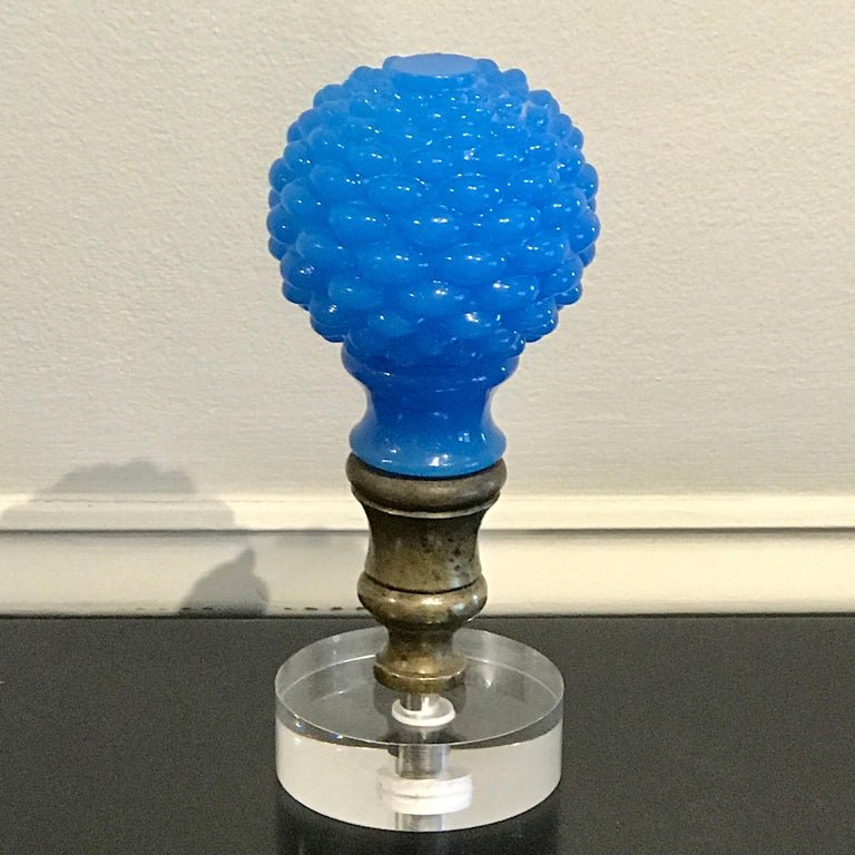 "19th Century  French Blue Opaline Newel Post or ""Boule Escalier"" For Sale"