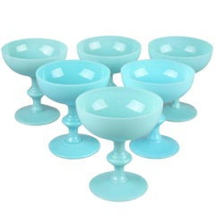 French Blue Opaline Sherbet Cups, Portieux Valersthal, Set of Six