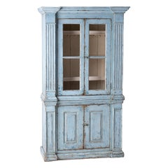 French Blue Painted Cupboard with Glass Doors, circa 1840