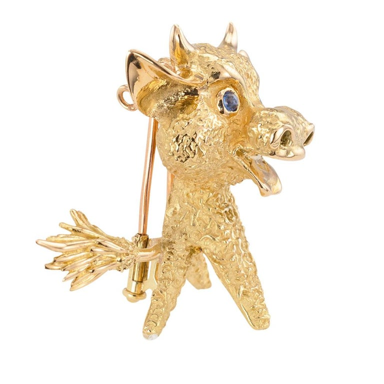 Modern French Blue Sapphire Yellow Gold Whimsical Bull Brooch Clip For Sale