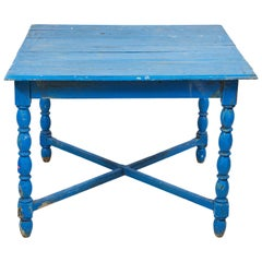 French Blue Square Farm Table with Turned Legs