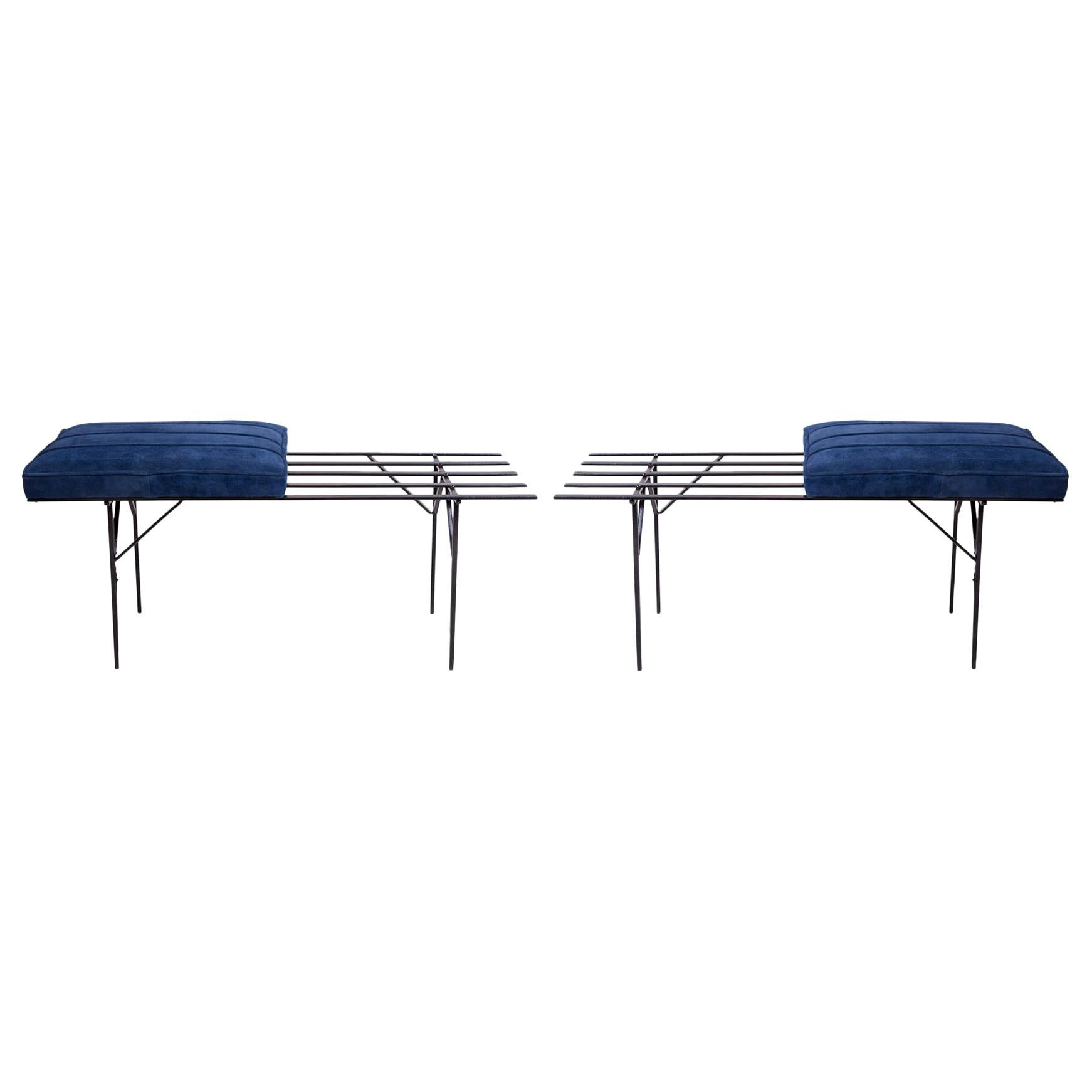 French Blue Suede and Iron Slat Benches, 1950s
