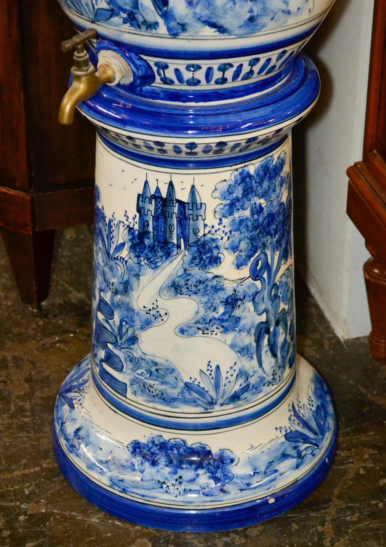 Ceramic French Blue and White Lavabo For Sale