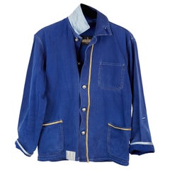 French Blue Work Jacket Cotton Blazer  Embellished Gold Braid J Dauphin