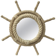French Boat Wheel Rope Mirror Audoux Minet