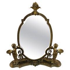 French Bonze Vanity Mirror with Cherubs Candleholders