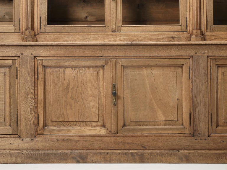 French Bookcase Mid-1800's in Exceptional Unrestored Condition Weathered Oak For Sale 8