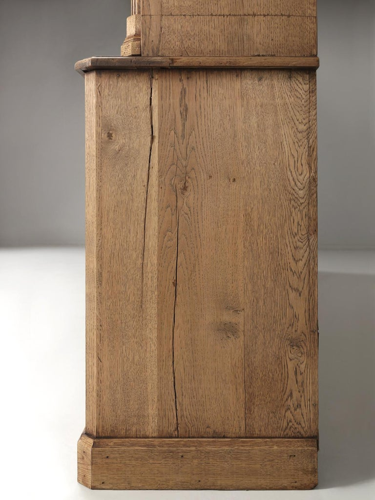 French Bookcase Mid-1800's in Exceptional Unrestored Condition Weathered Oak For Sale 12