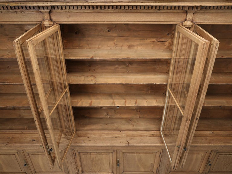 French Bookcase Mid-1800's in Exceptional Unrestored Condition Weathered Oak For Sale 14