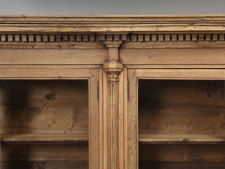 Hand-Crafted French Bookcase Mid-1800's in Exceptional Unrestored Condition Weathered Oak For Sale
